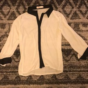 Sheer White and black blouse
